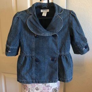 Girls Denim Double Breasted short sleeve jacket.